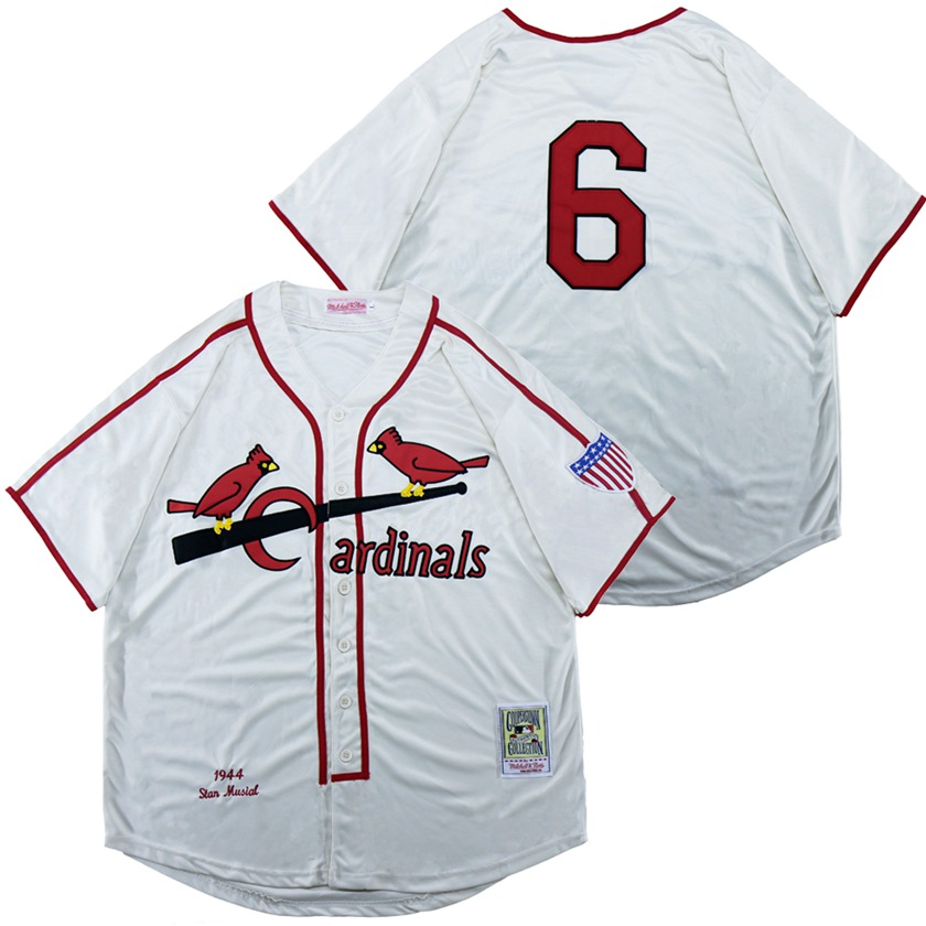 Cardinals 6 Stan Musial White 1944 Throwback Jersey