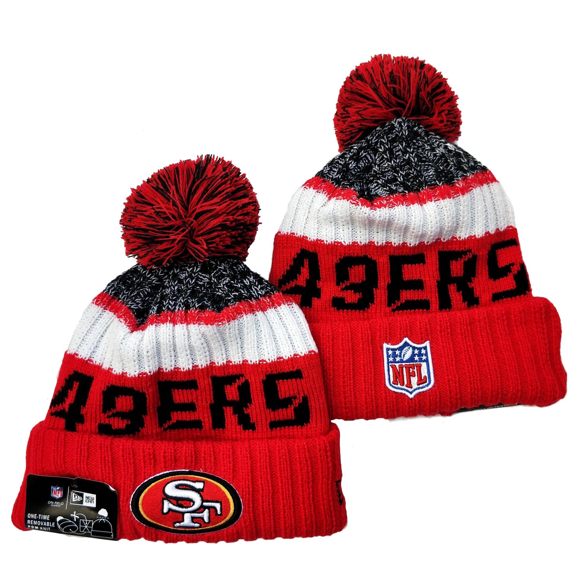 49ers Team Logo Red Pom Knit Hat YD