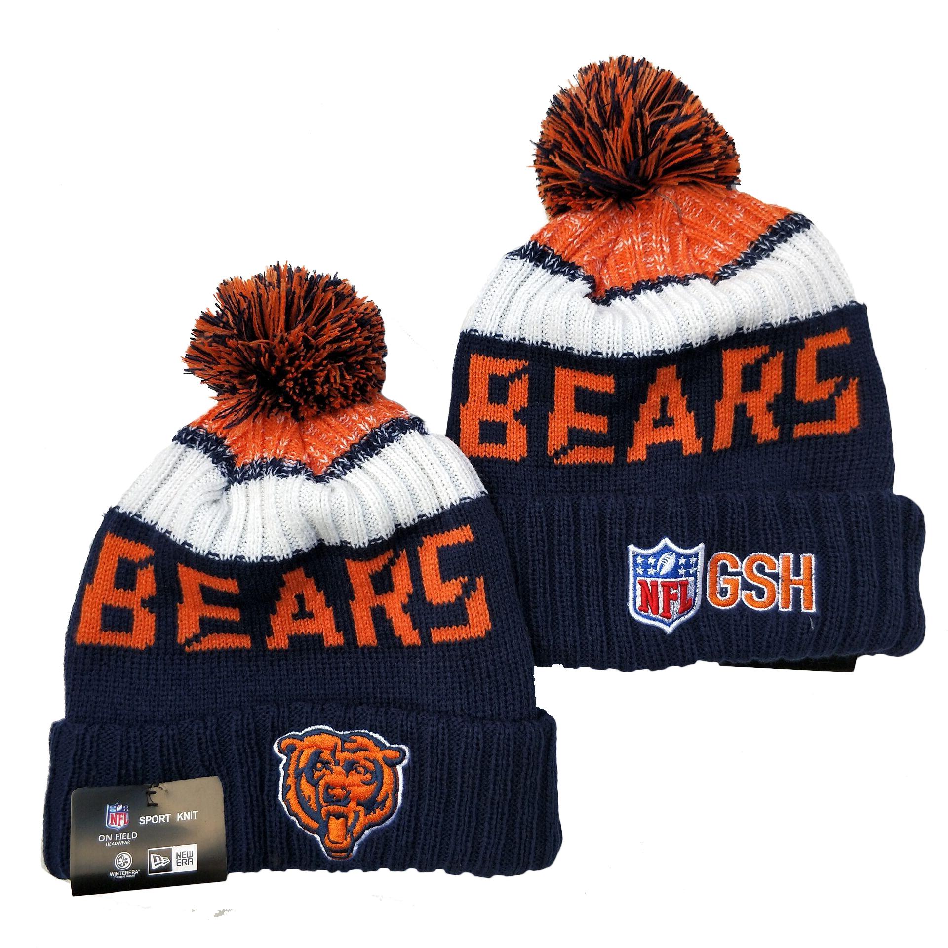 Bears Team Logo Navy Pom Knit Hat YD