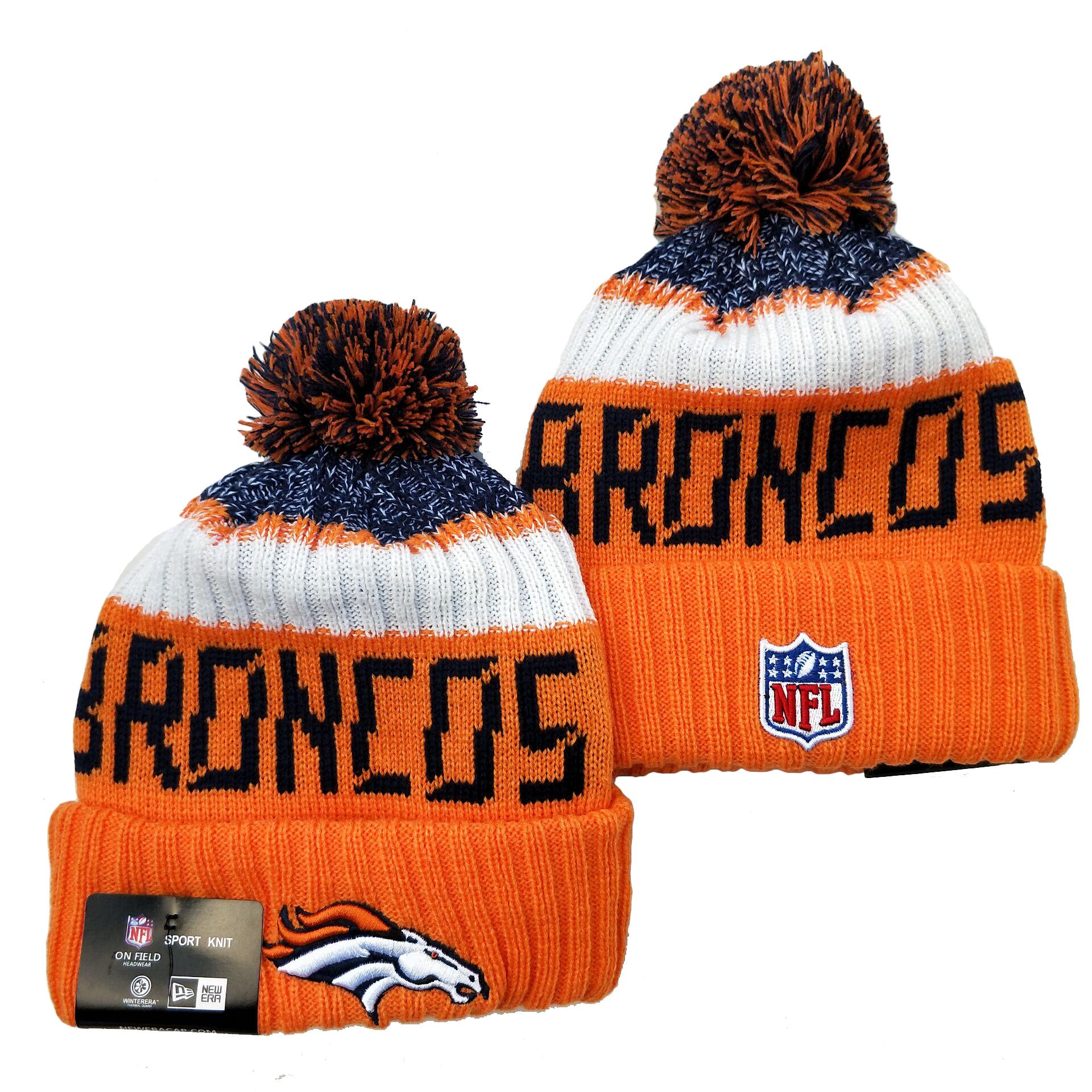 Broncos Team Logo Orange Pom Knit Hat YD