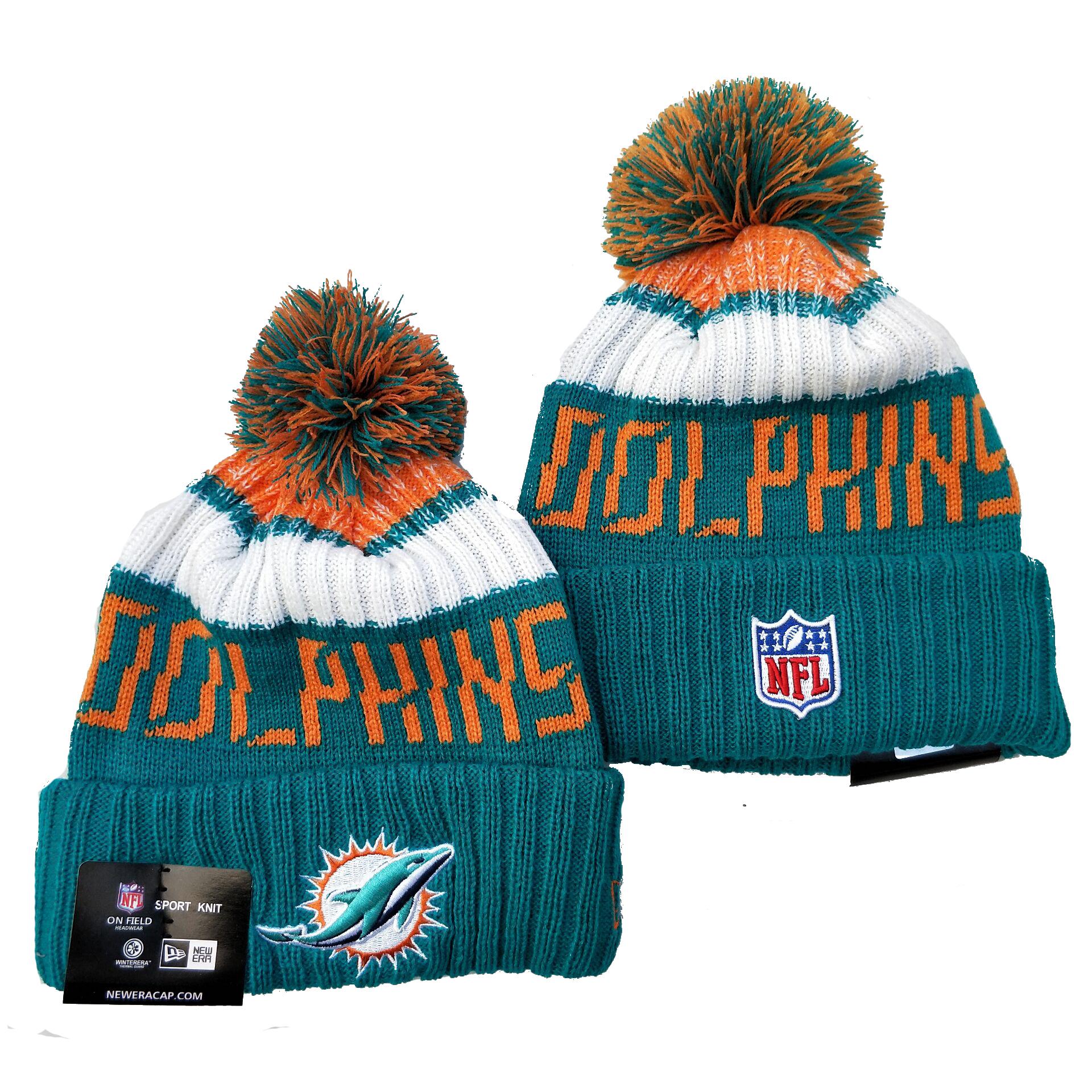 Dolphins Team Logo Aque Pom Knit Hat YD
