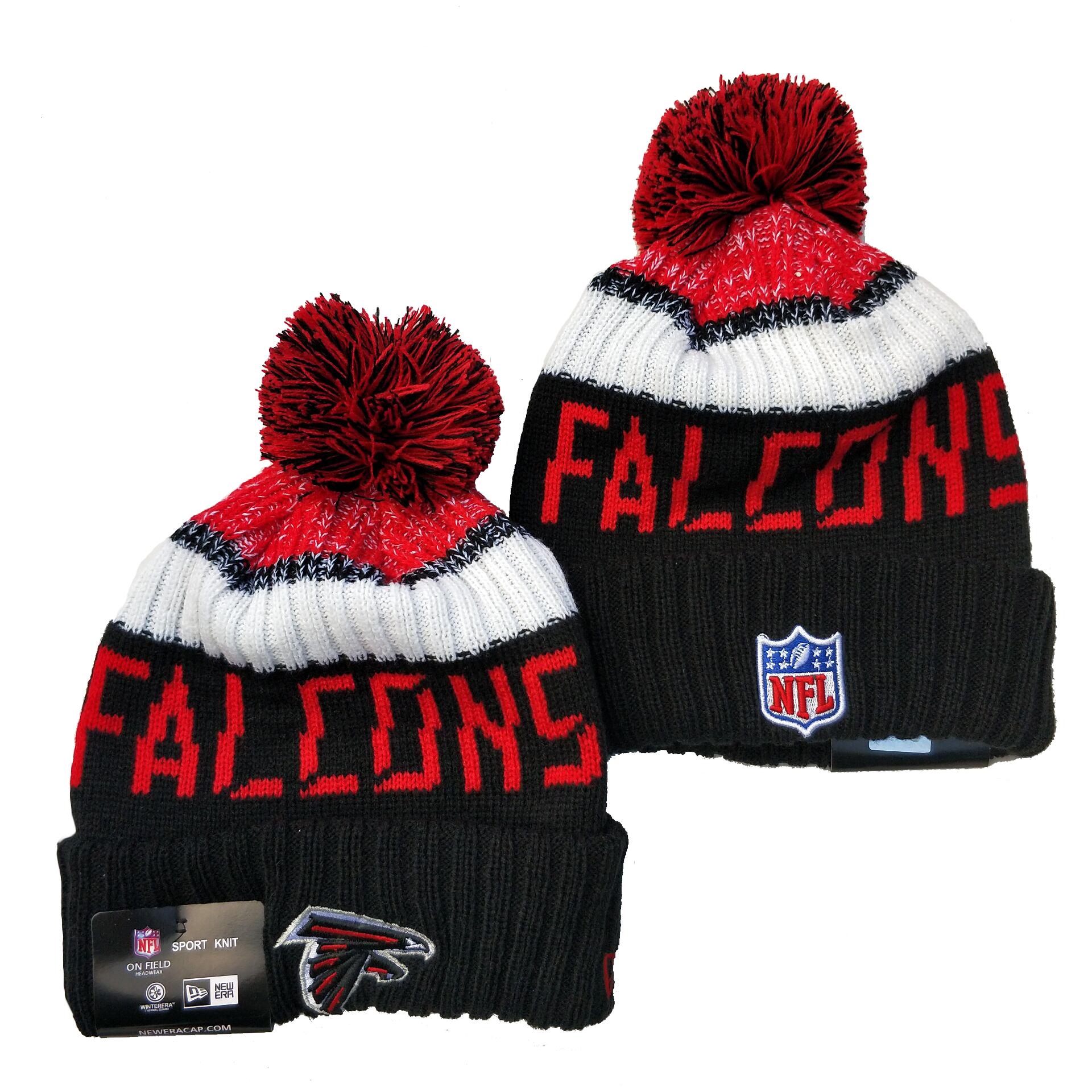 Falcons Team Logo Black Pom Knit Hat YD
