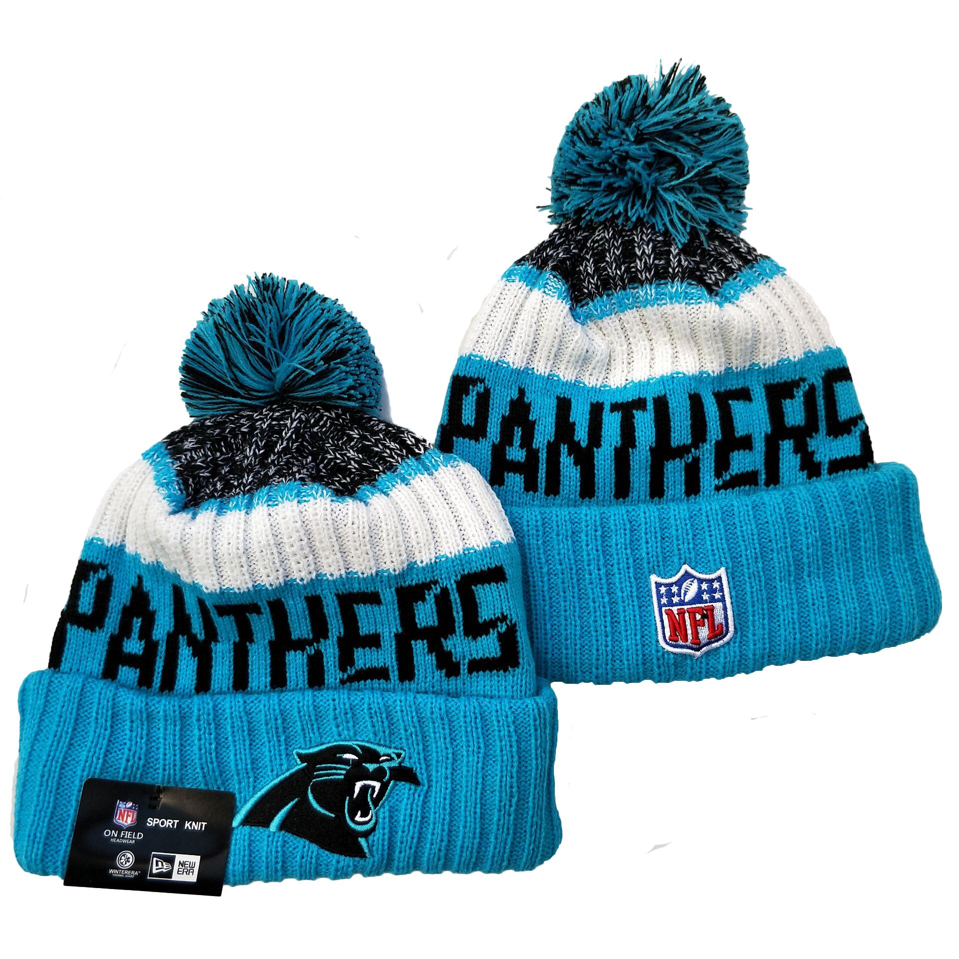 Panthers Team Logo Blue Pom Knit Hat YD