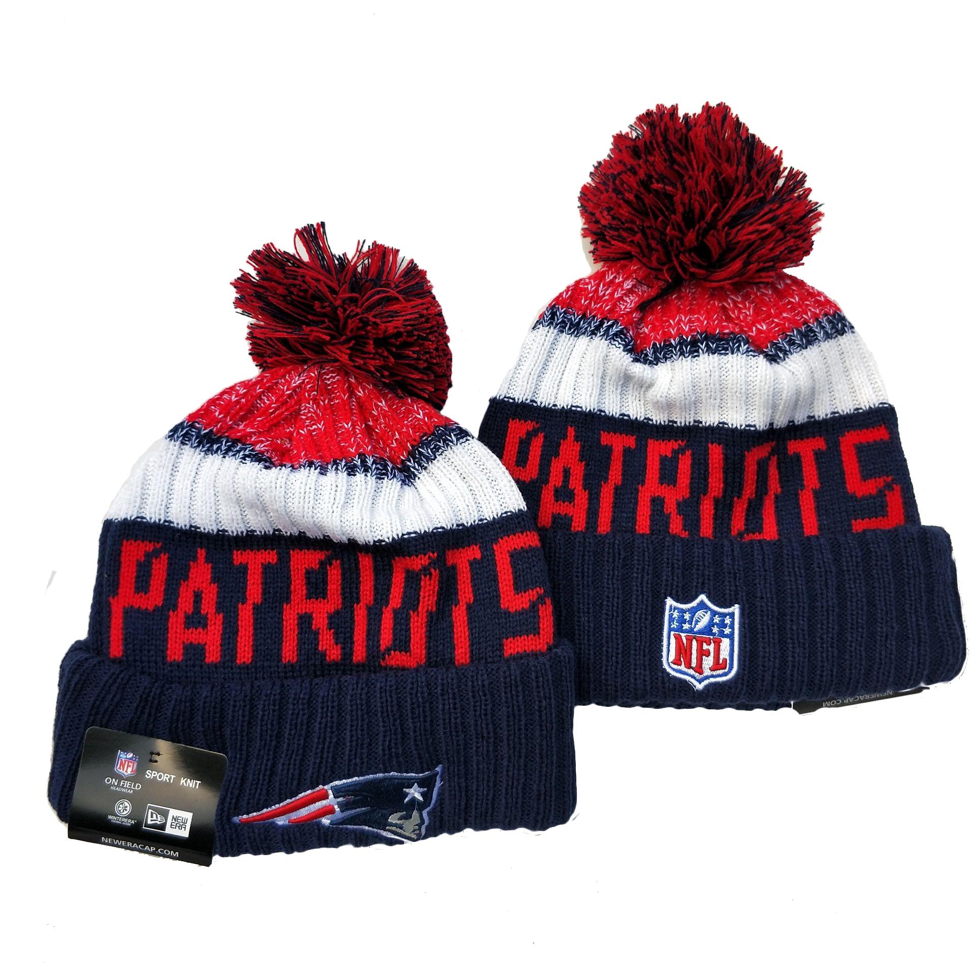 Patriots Team Logo Navy Pom Knit Hat YD