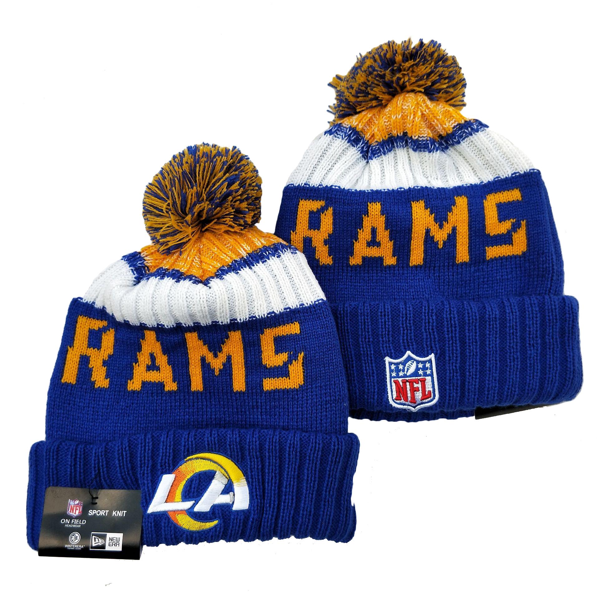 Rams Team Logo Royal Pom Knit Hat YD