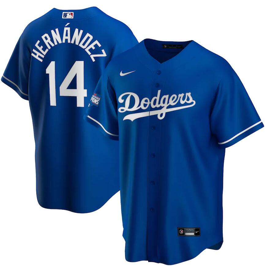 Dodgers 14 Enrique Hernandez Royal Nike 2020 World Series Champions Cool Base Jersey