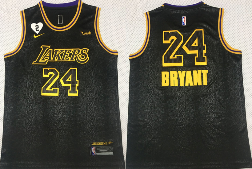 Lakers 24 Kobe Bryant Black 2 Heart Gigi Patch Mamba Nike Swingman Jersey