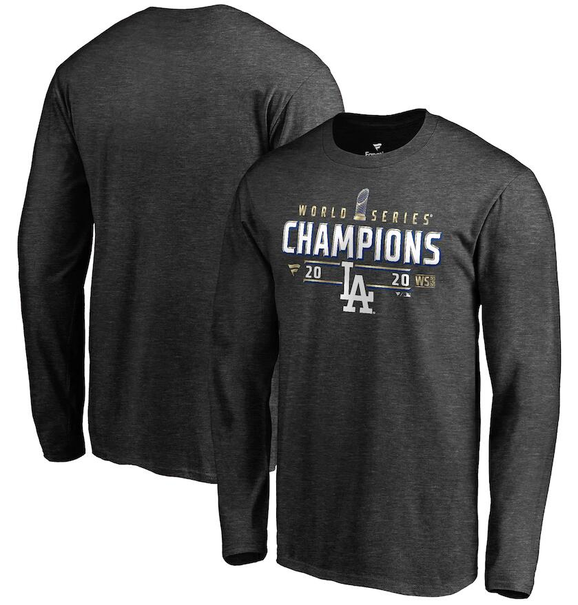 Men's Los Angeles Dodgers Fanatics Branded Charcoal 2020 World Series Champions Locker Room Long Sleeve T-Shirt