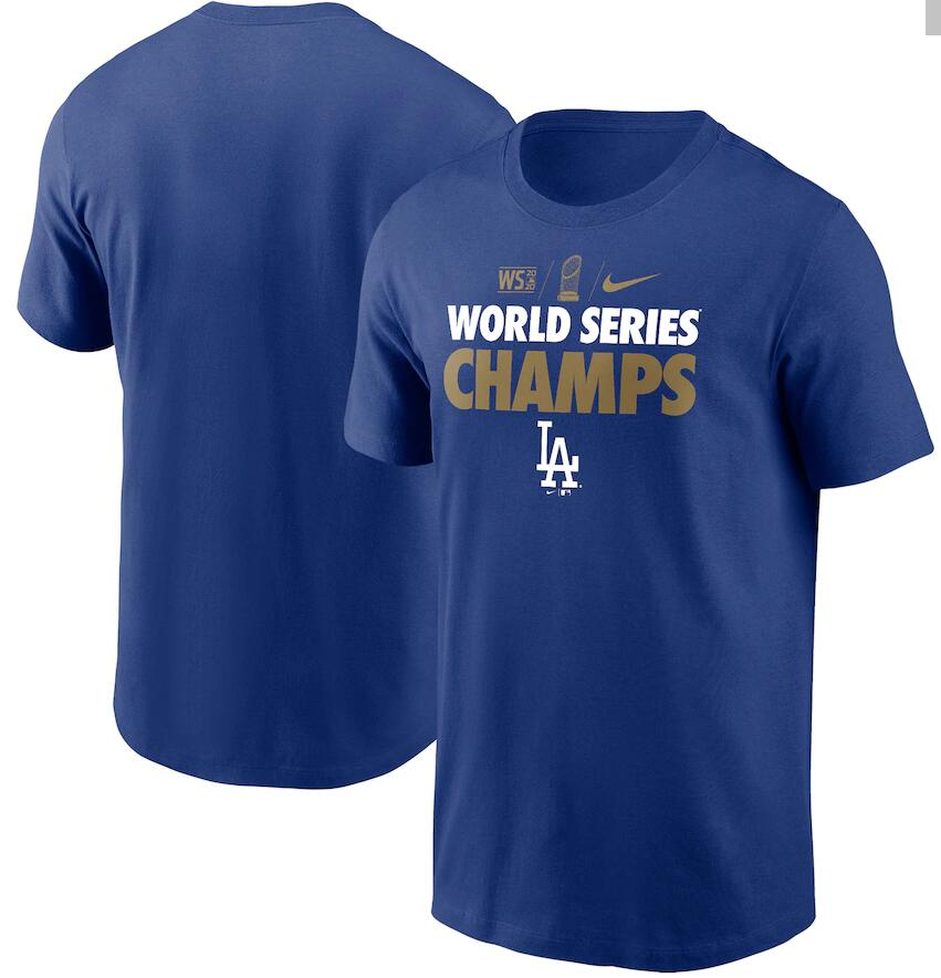 Men's Los Angeles Dodgers Nike Royal 2020 World Series Champions Gold T-Shirt