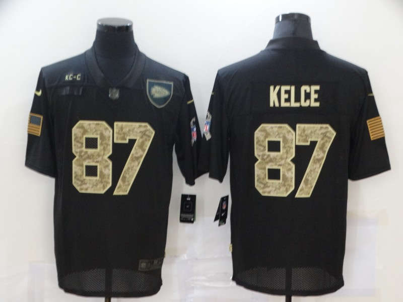 Nike Chiefs 87 Travis Kelce Black Camo 2020 Salute To Service Limited Jersey