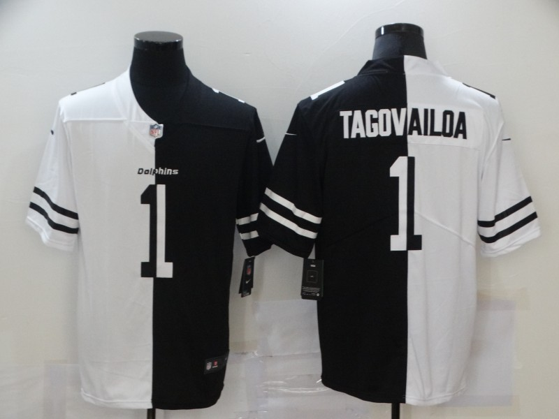 Nike Dolphins 1 Tua Tagovailoa Black And White Split Vapor Untouchable Limited Jersey