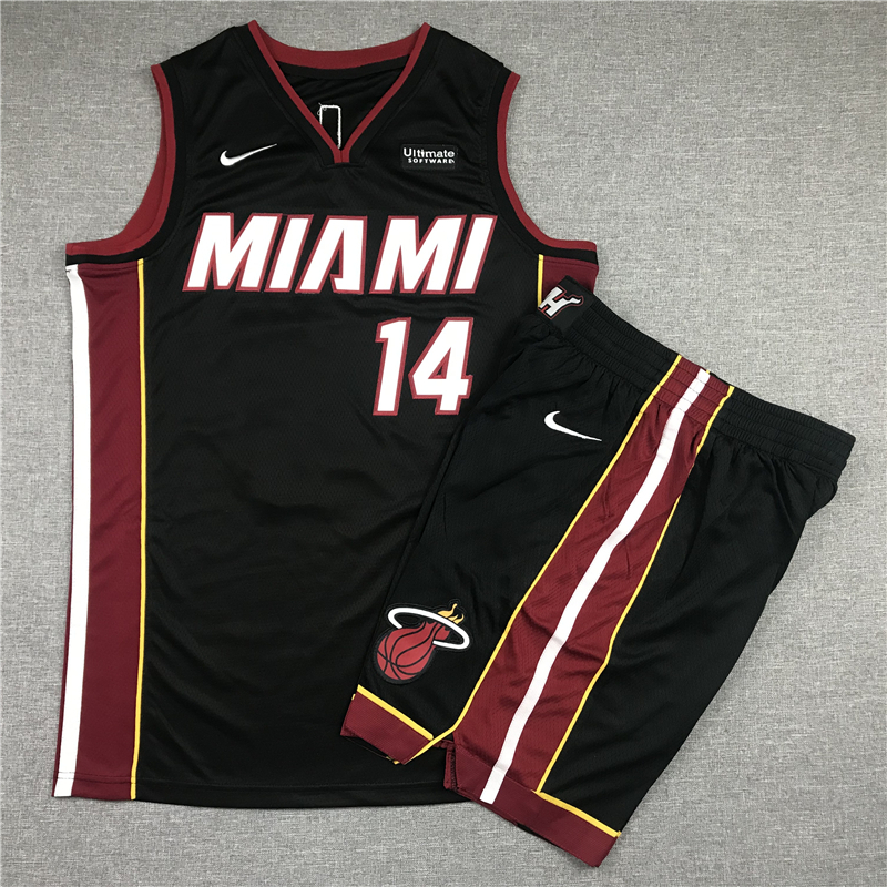 Heat 14 Tyler Herro Black Nike Swingman Jersey(With Shorts)