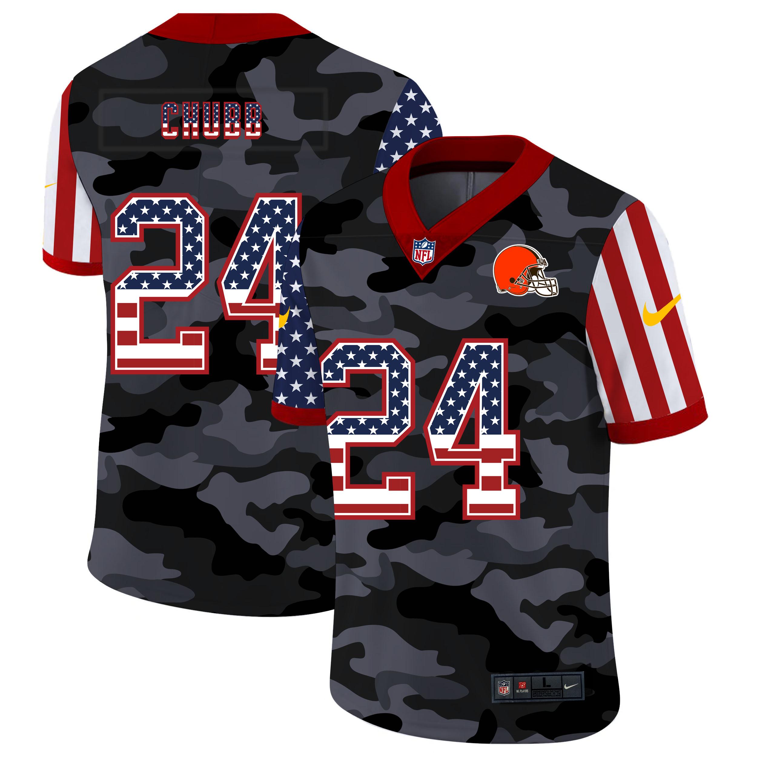 Nike Browns 24 Nick Chubb Camo 2020 USA Flag Salute to Service Limited Jersey