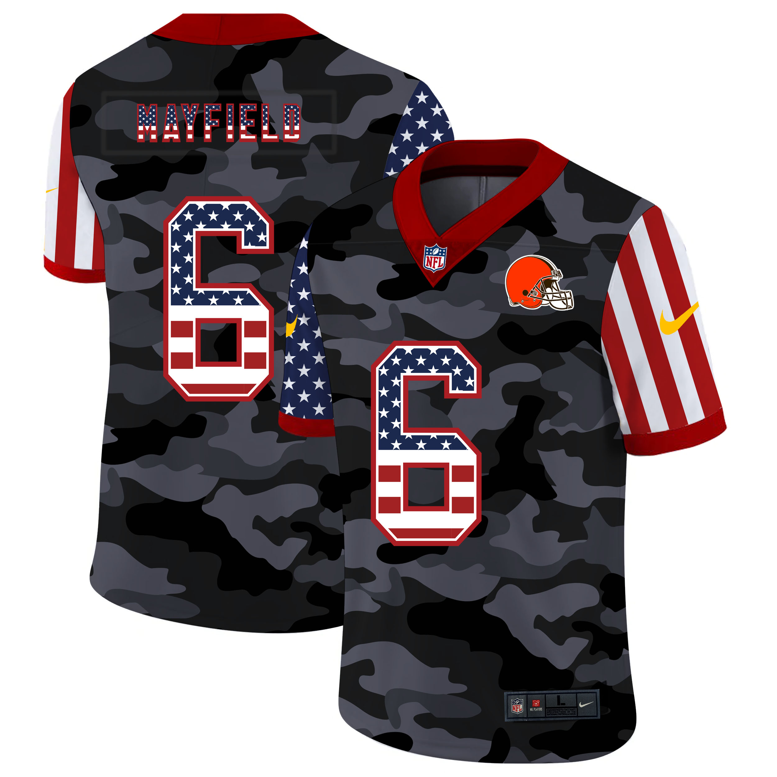 Nike Browns 6 Baker Mayfield Camo 2020 USA Flag Salute to Service Limited Jersey