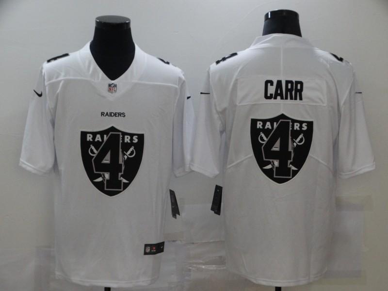 Nike Raiders 4 Derek Carr White Shadow Logo Limited Jersey