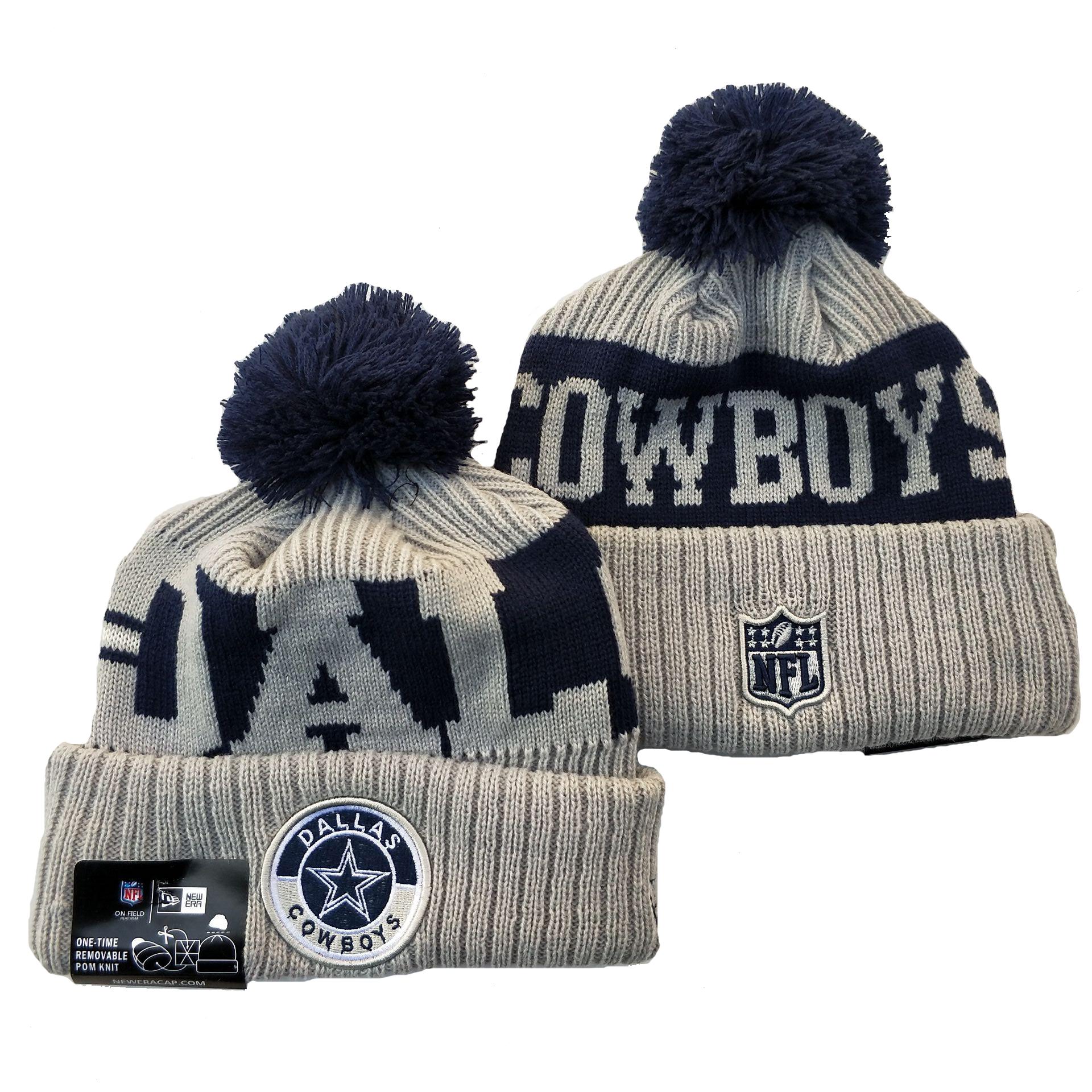 Cowboys Team Logo Gray 2020 NFL Sideline Pom Cuffed Knit Hat YD