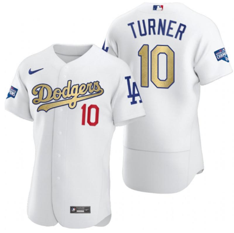Dodgers 10 Justin Turner White Gold Nike 2020 World Series Champions Flexbase Jersey