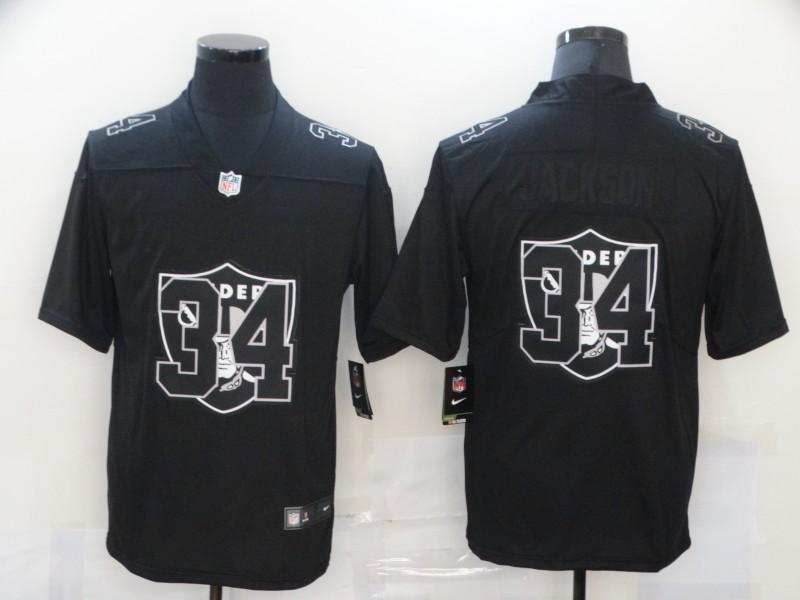 Nike Raiders 34 Bo Jackson Black Shadow Logo Limited Jersey