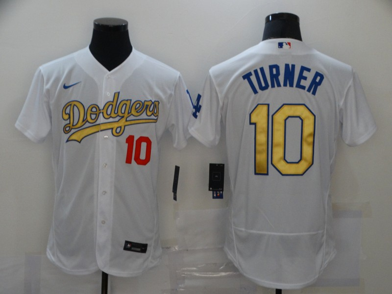 Dodgers 10 Justin Turner White Gold 2020 Nike Flexbase Jersey