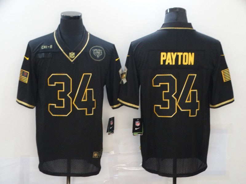 Nike Bears 34 Walter Payton Black Gold 2020 Salute To Service Limited Jersey