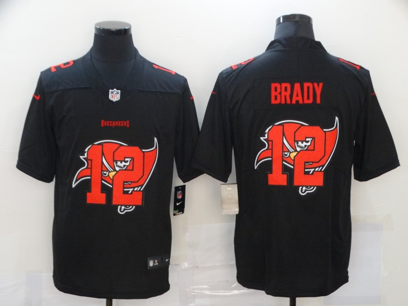 Nike Buccaneers 12 Tom Brady Black Shadow Logo Limited Jersey