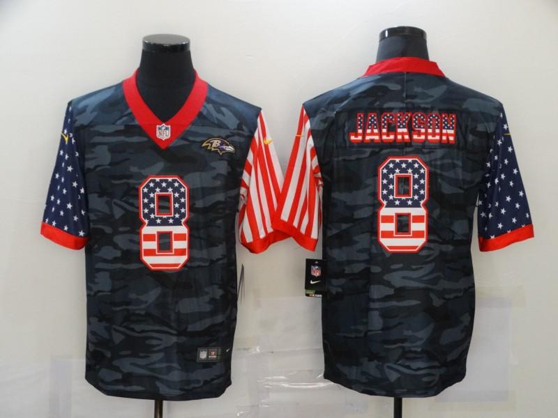 Nike Ravens 8 Lamar Jackson Black Camo USA Flag Limited Jersey