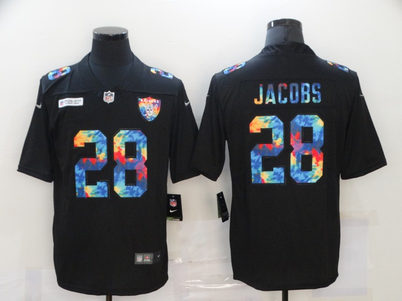 Nike Raiders 28 Josh Jacobs Black Vapor Untouchable Rainbow Limited Jersey