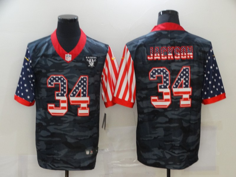 Nike Raiders 34 Bo Jackson Camo 2020 USA Flag Limited Jersey