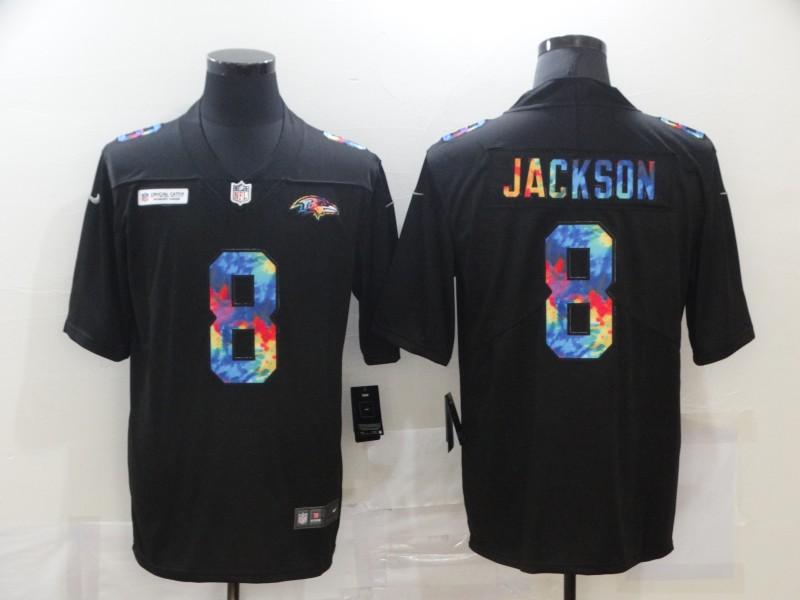 Nike Ravens 8 Lamar Jackson Black Vapor Untouchable Rainbow Limited Jersey