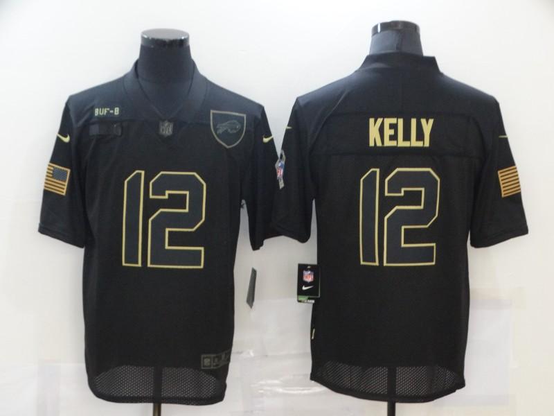 Nike Bills 12 Jim Kelly Black 2020 Salute To Service Limited Jersey
