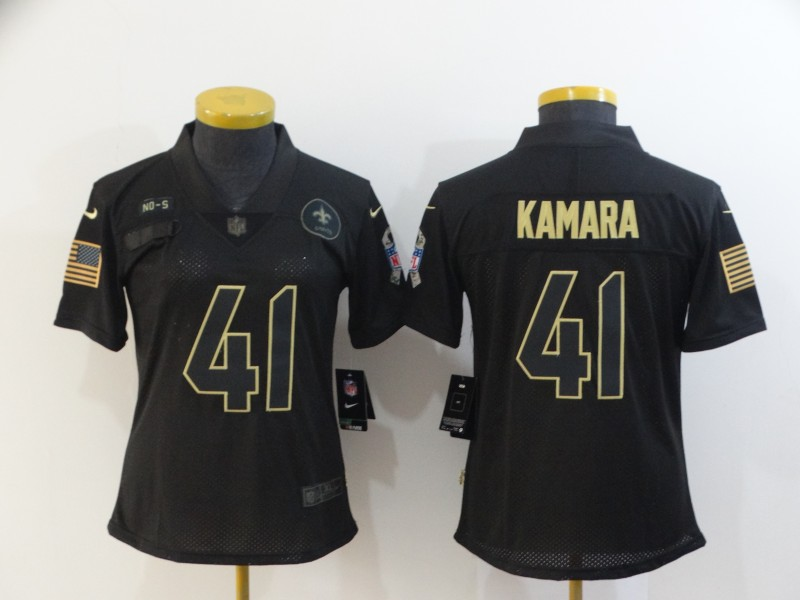 Nike Saints 41 Alvin Kamara Black Women 2020 Salute To Service Limited Jersey