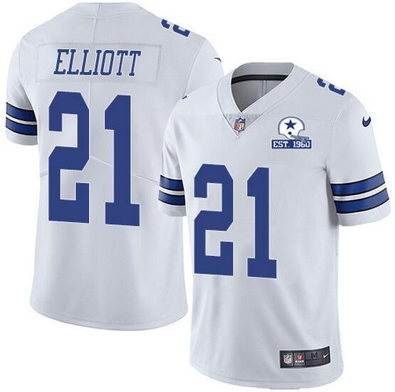 Nike Cowboys 21 Ezekiel Elliott White With Est 1960 Patch Vapor Untouchable Limited Jersey