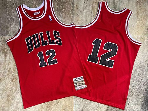 Bulls 12 Michael Jordan Red 1990 Hardwood Classics Jersey