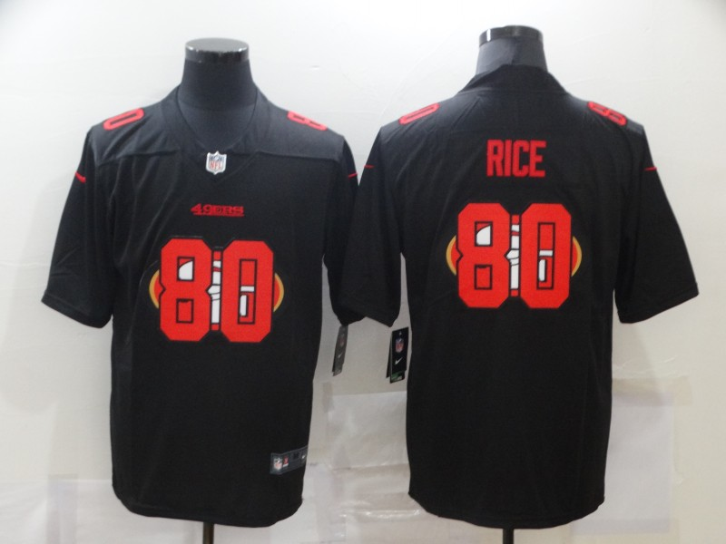 Nike 49ers 80 Jerry Rice Black Shadow Logo Limited Jersey