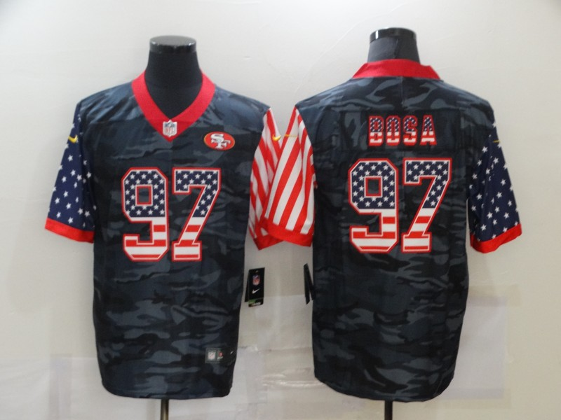 Nike 49ers 97 Nick Bosa Black Camo USA Flag Limited Jersey