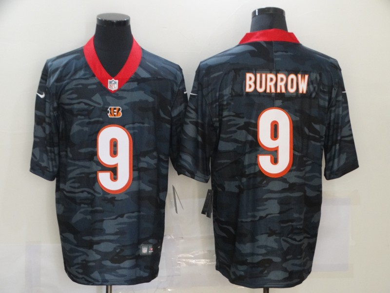 Nike Bengals 9 Joe Burrow Black Camo Limited Jersey