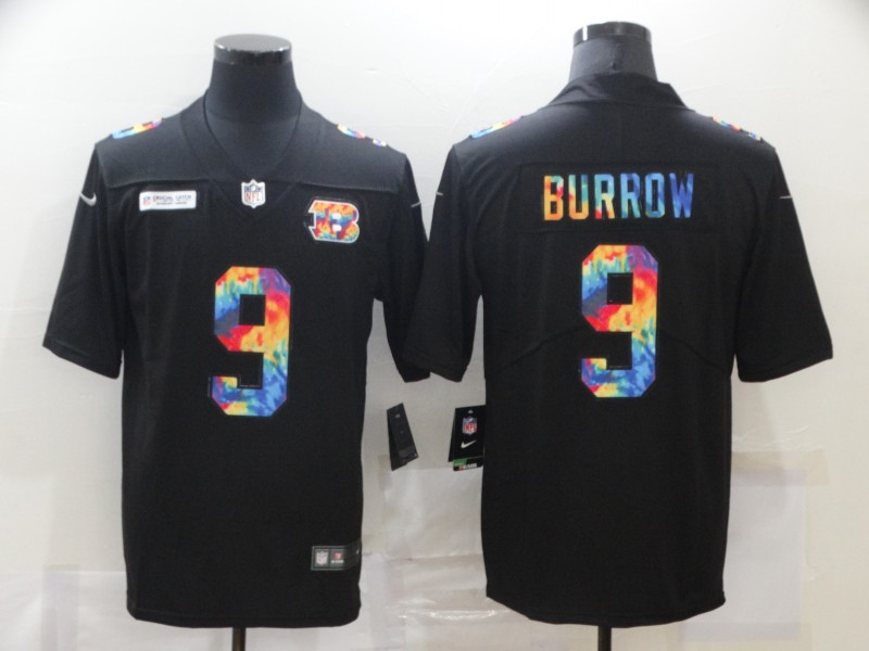 Nike Bengals 9 Joe Burrow Black Vapor Untouchable Rainbow Limited Jersey