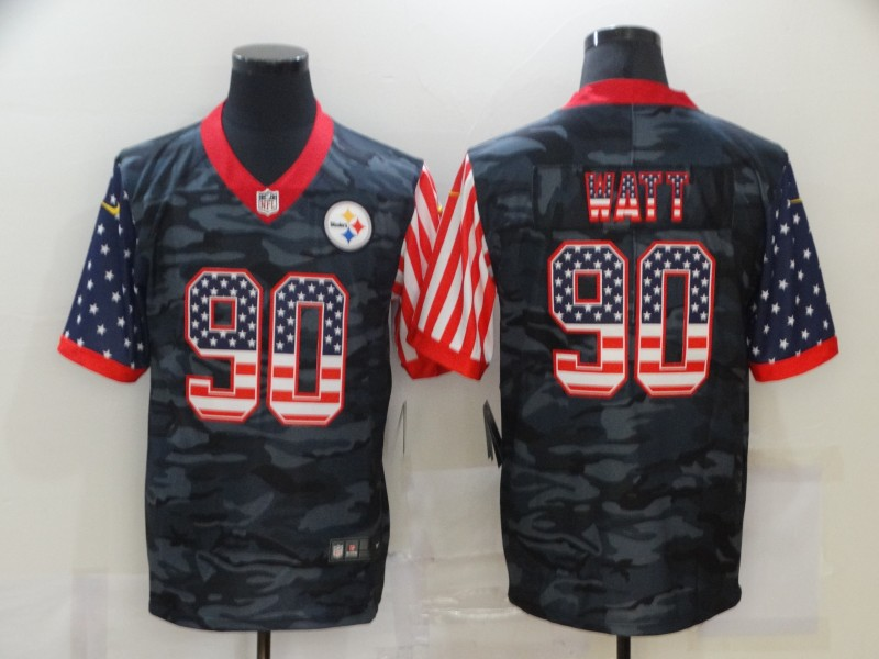 Nike Steelers 90 T.J. Watt Black Camo USA Flag Limited Jersey