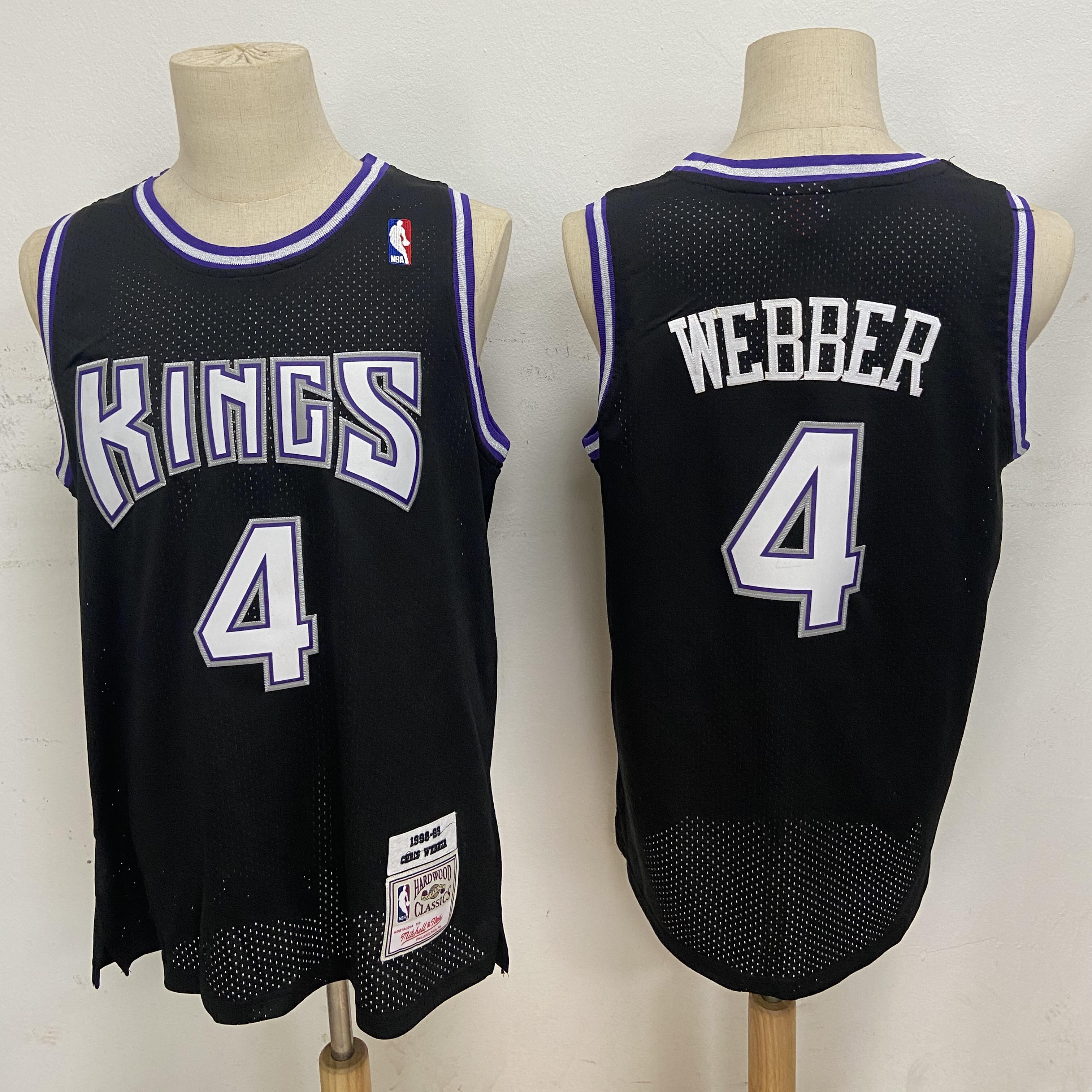 Kings 4 Chris Webber Black 1998-99 Hardwood Classics Jersey