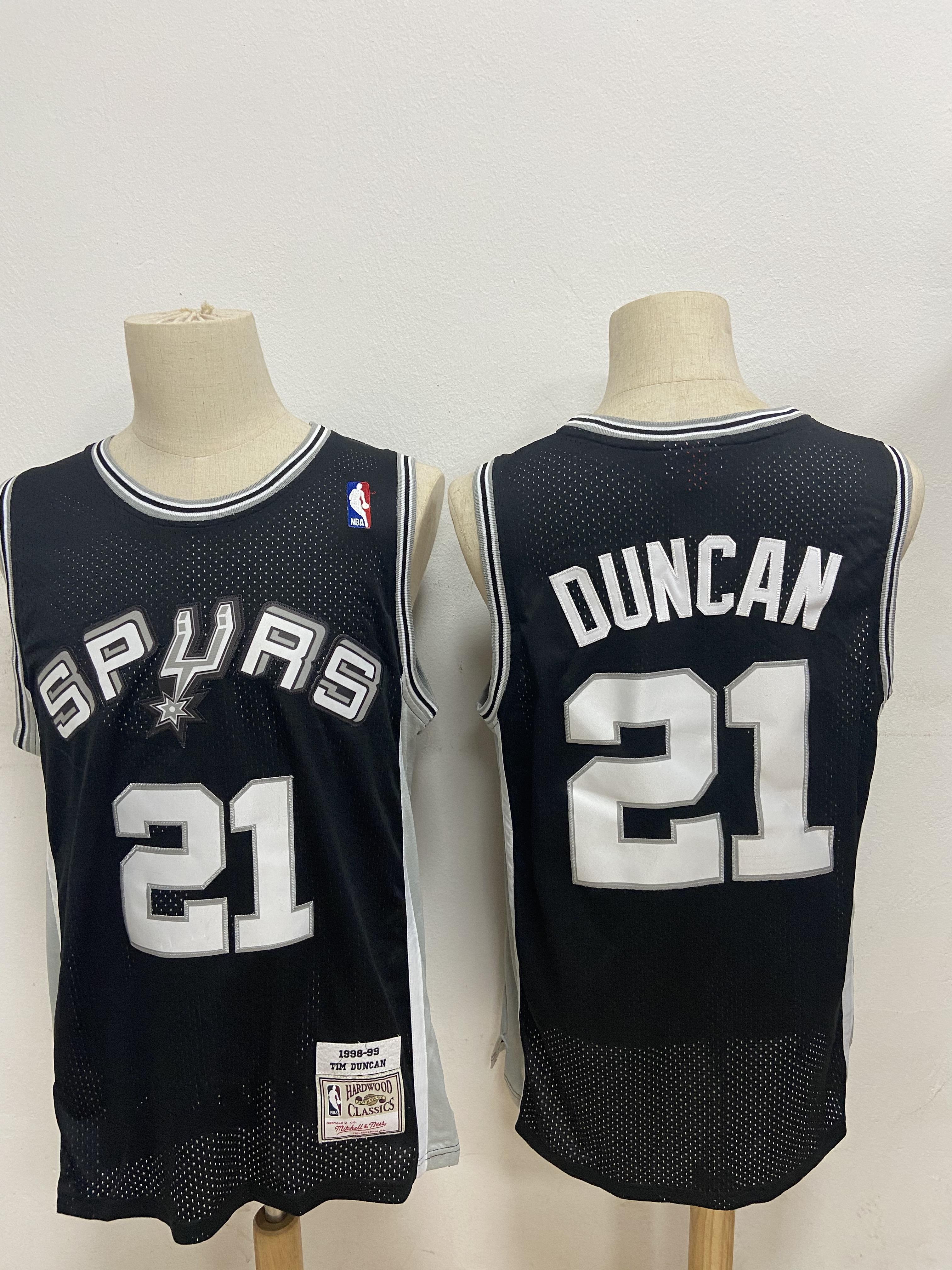 Spurs 21 Tim Duncan Black 1998-99 Hardwood Classics Jersey
