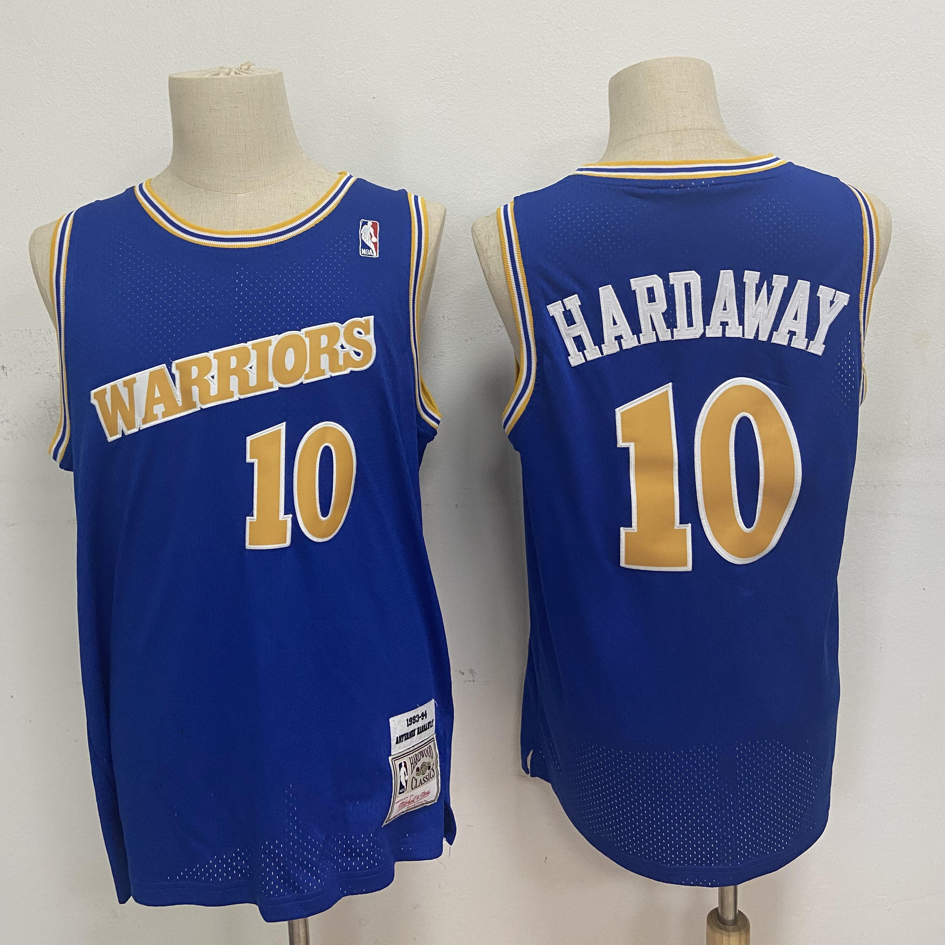 Warriors 10 Tim Hardaway Blue 1993-94 Hardwood Classics Jersey