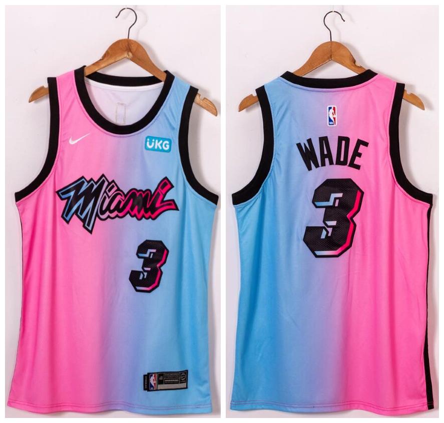 Heat 3 Dwyane Wade Blue Pink Nike 2021 City Edition Swingman Jersey