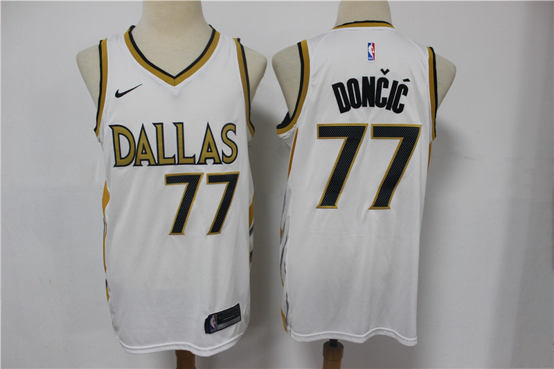 Mavericks 77 Luka Doncic White 2021 City Edition Nike Swingman Jersey