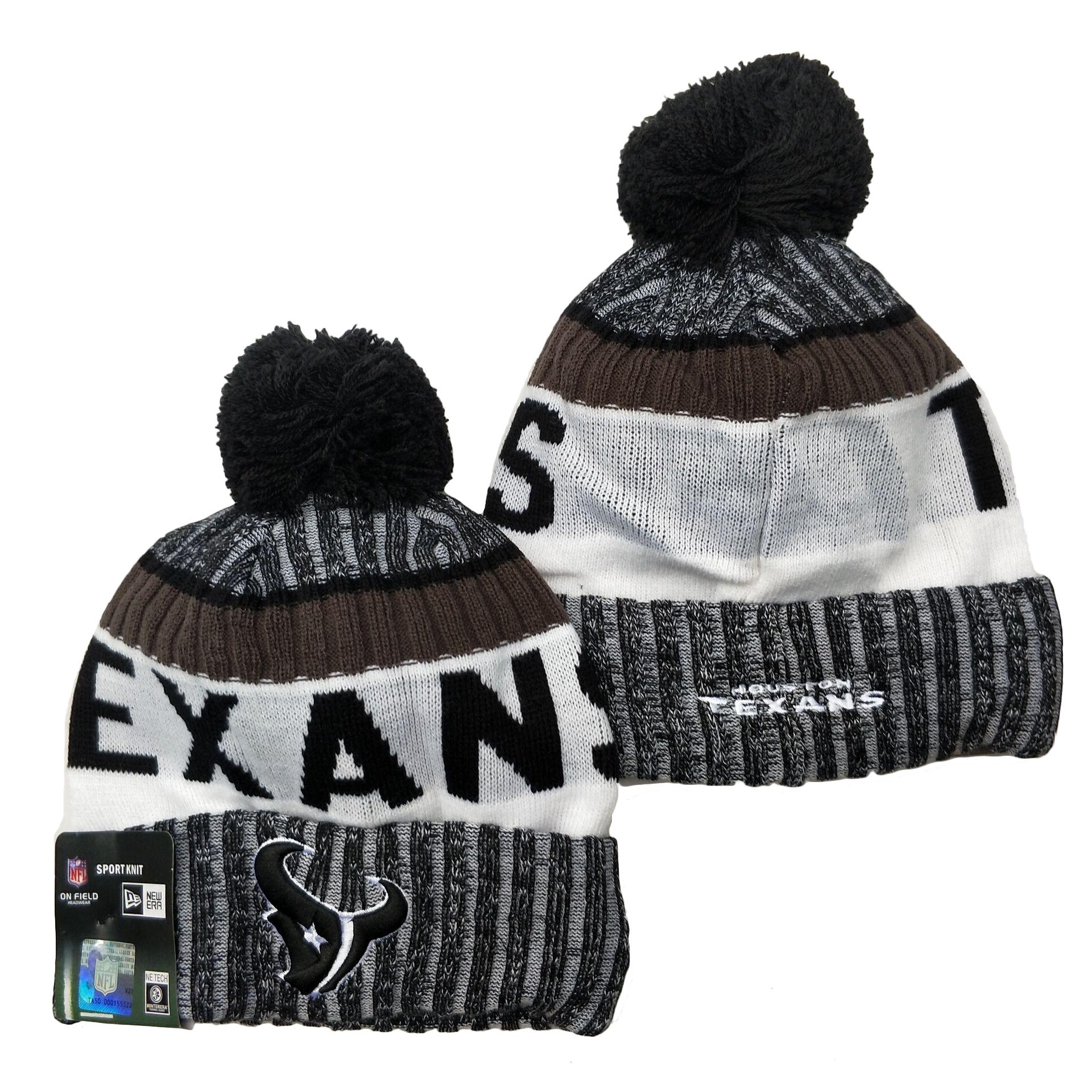 Texans Team Logo Gray Black White Pom Cuffed Knit Hat YD