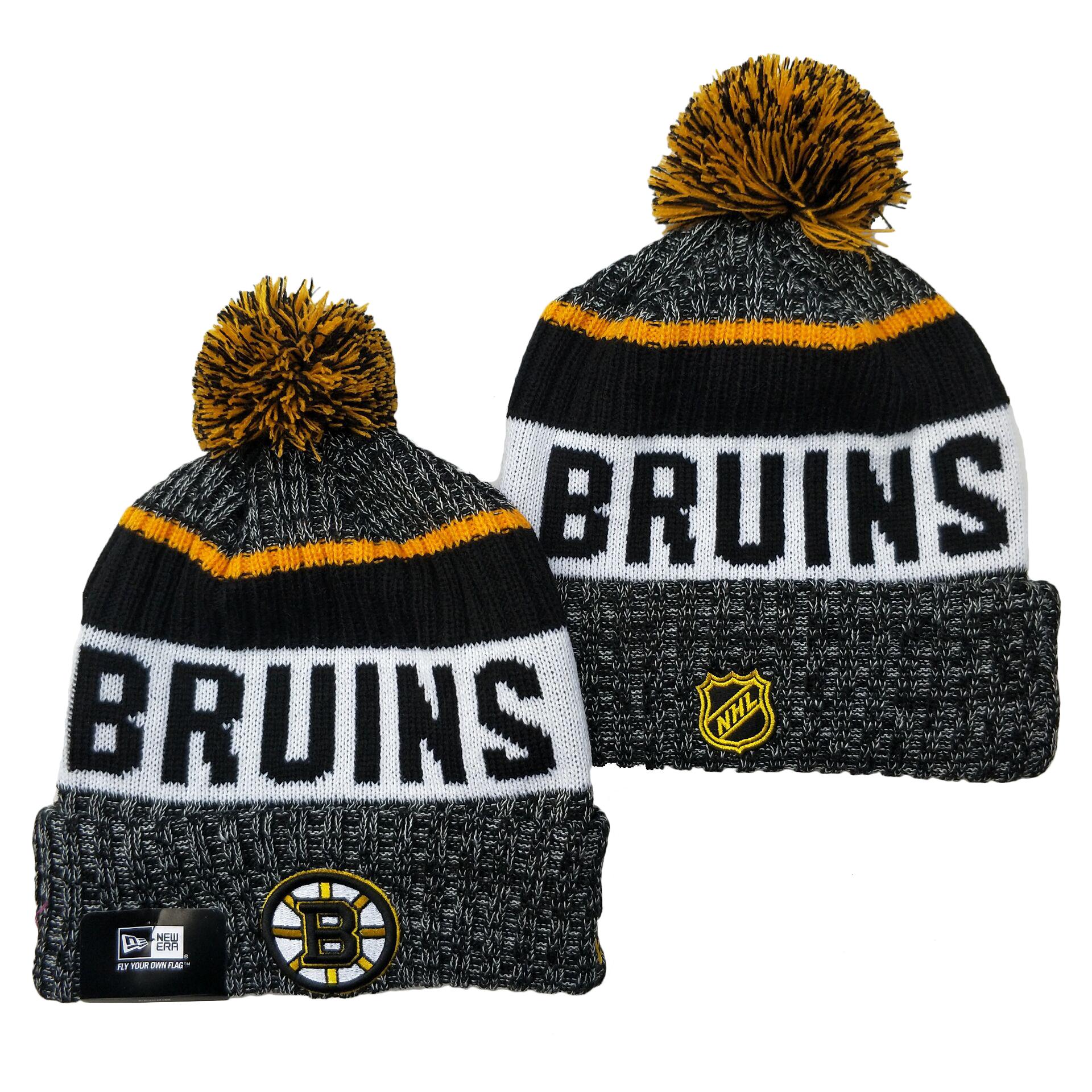 Bruins Team Logo Gray Pom Cuffed Knit Hat YD