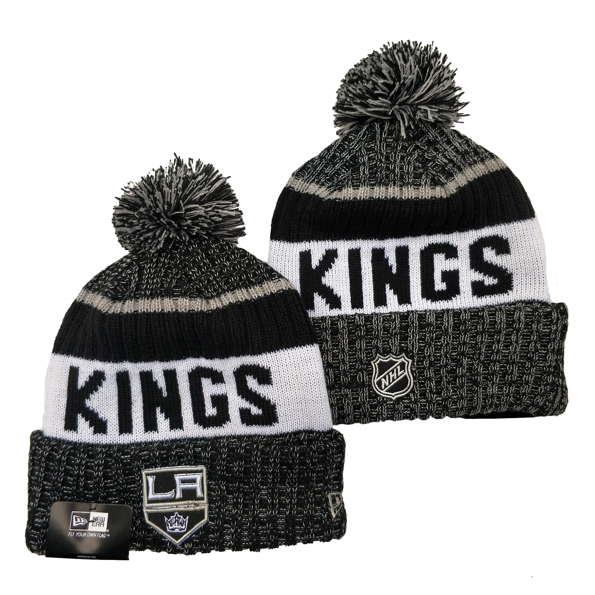 Los Angeles Kings Team Logo Black White Pom Cuffed Knit Hat YD