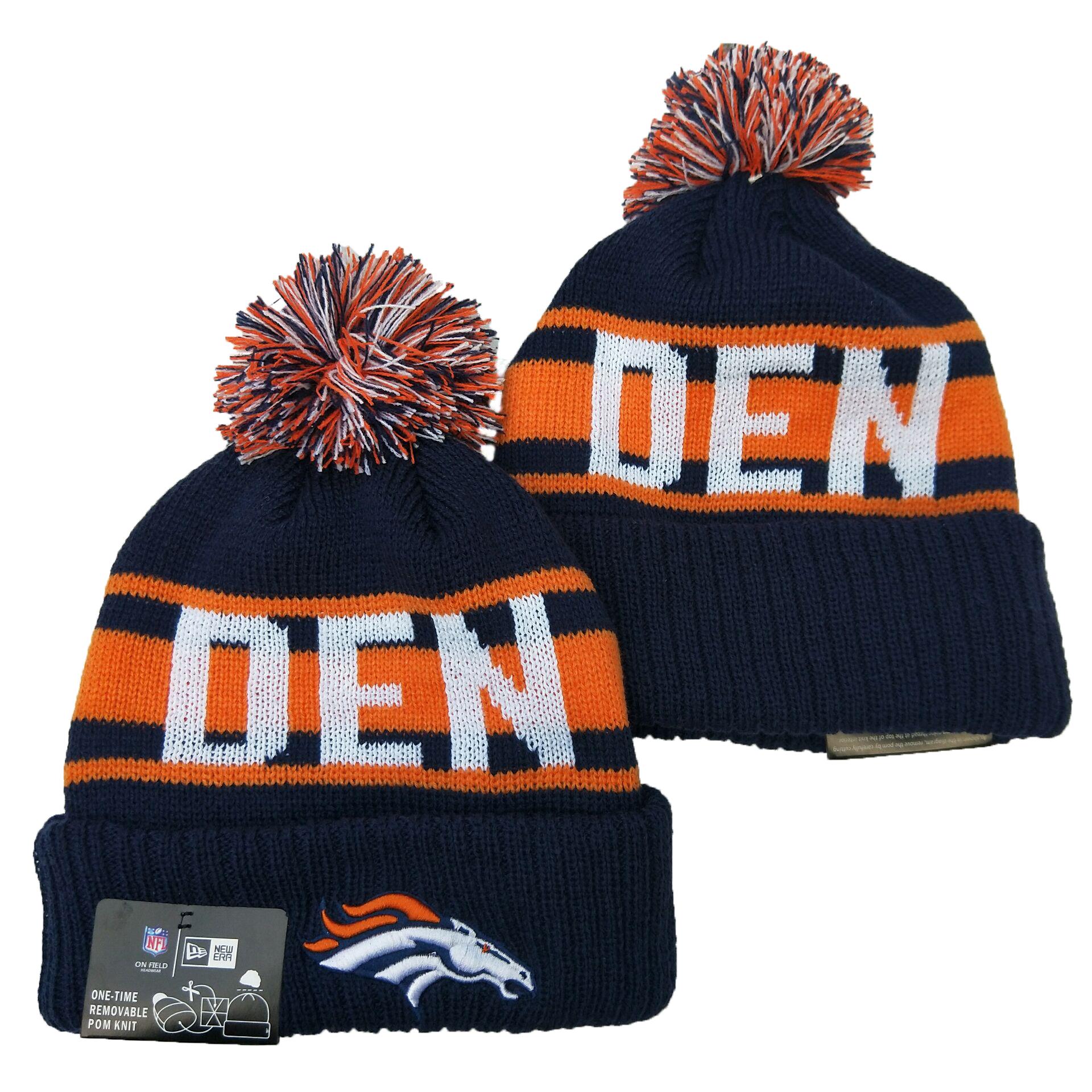 Broncos Team Logo Navy White Cuffed Knit Hat YD