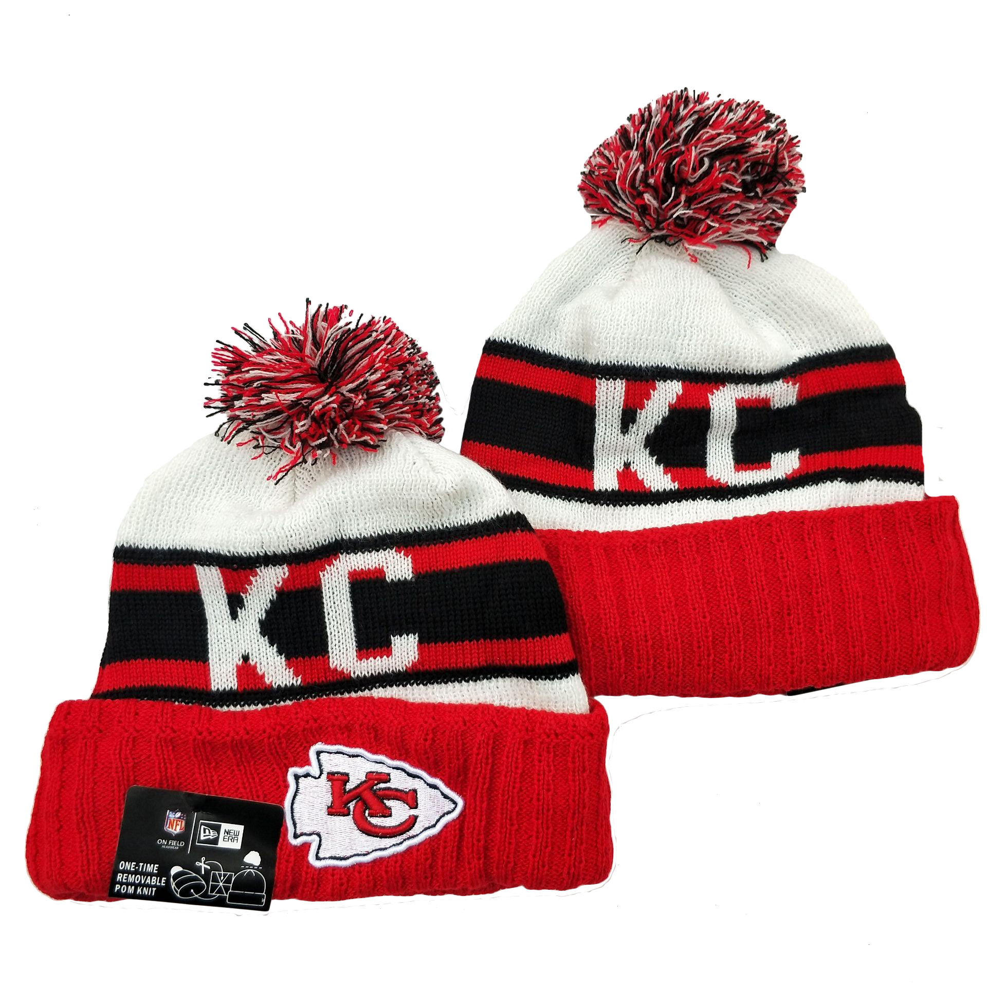 Chiefs Team Logo Red White Cuffed Knit Hat YD