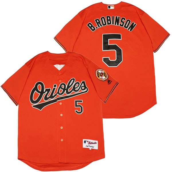 Orioles 5 Brooks Robinson Orange Cool Base Jersey