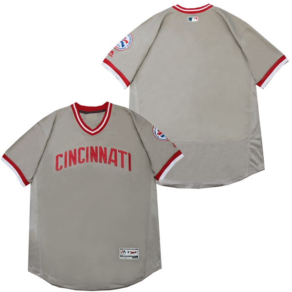 Reds Blank Gray Throwback Jersey